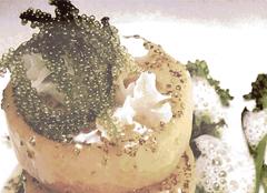 グリーンキャビアと大根のステーキ